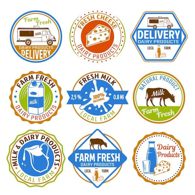 Melk gekleurde emblemen Premium Vector