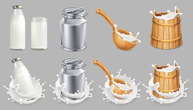 Melk kan en plons. natuurlijke zuivelproducten. pictogramserie Premium Vector