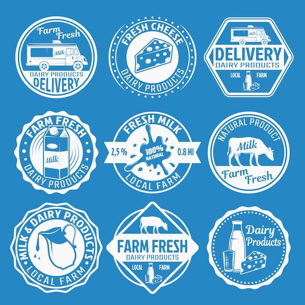 Melk monochroom emblemen set Gratis Vector