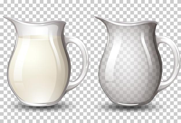Melk op kruik transparante achtergrond Gratis Vector