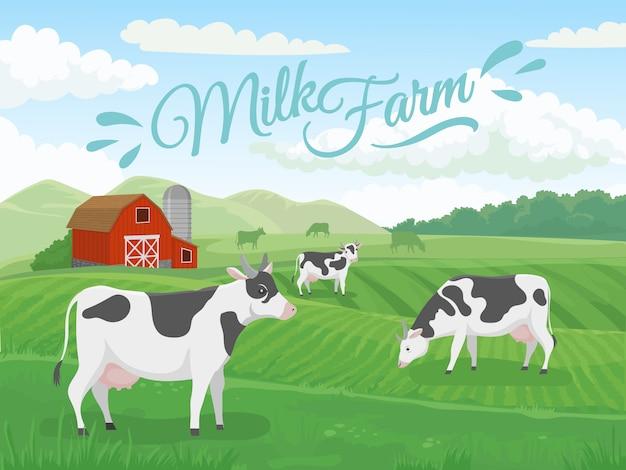 Melkboerderij veld. melkveehouderijlandschap, koe op boerderijgebieden en de illustratie van de landbouwkoeien van het land Premium Vector
