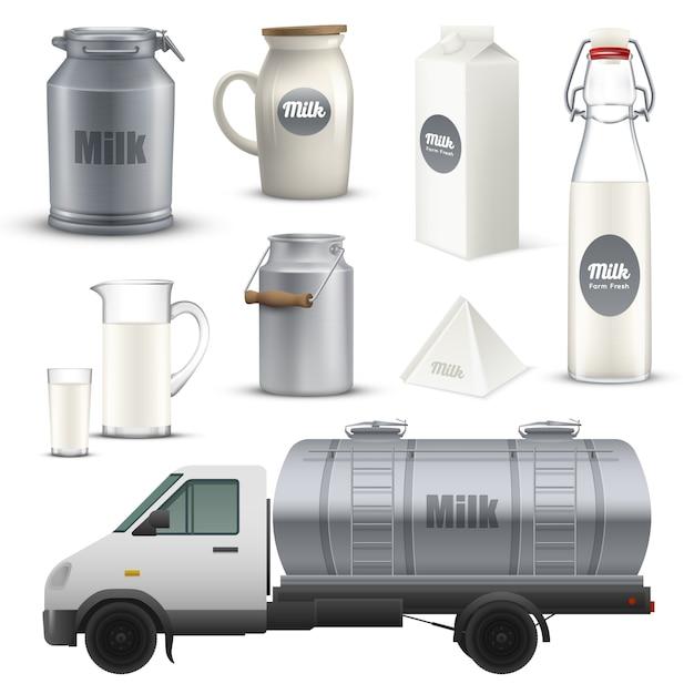 Melkcontainers realistische set Gratis Vector