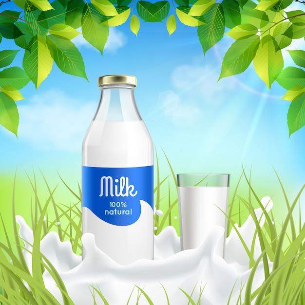 Melkfles en glas in de aard Gratis Vector