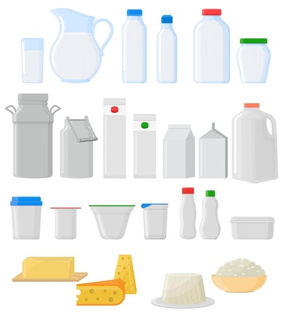 Melkpak vector lege glazen pot glaswerk set Premium Vector