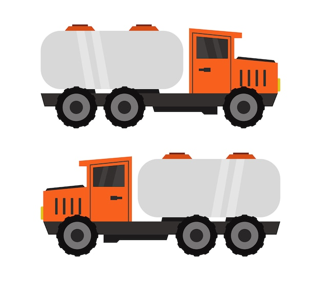 Melktank op witte vrachtwagen op wit Premium Vector
