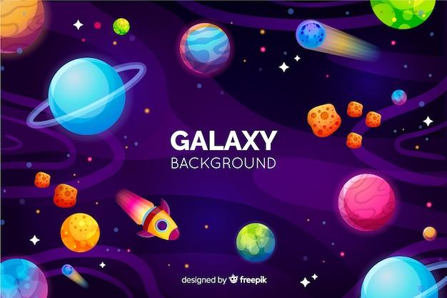 Melkwegachtergrond met kleurrijke planeten Gratis Vector