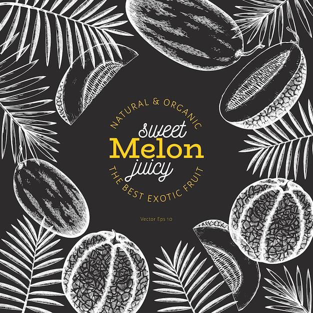 Meloenen en watermeloenen met tropische bladeren ontwerpsjabloon. Premium Vector