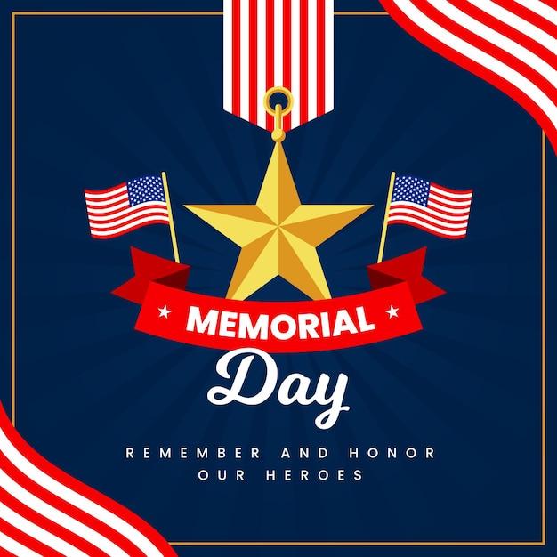 Memorial day met vlaggen en ster Gratis Vector