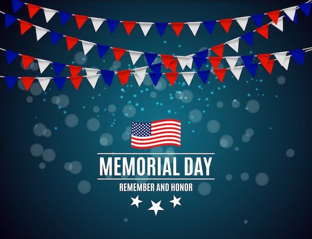 Memorial day op de achtergrond van de vs Premium Vector