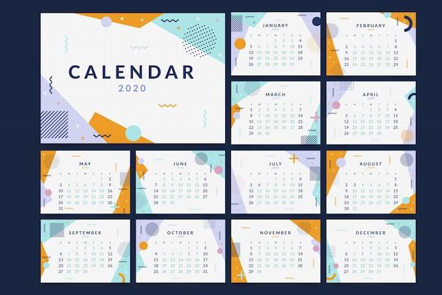 Memphis 2020 kalendersjabloon Gratis Vector