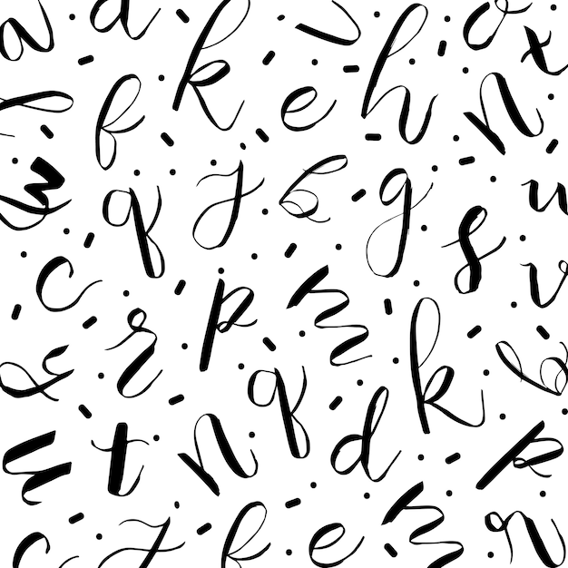 Memphis alfabet patroon achtergrond Gratis Vector