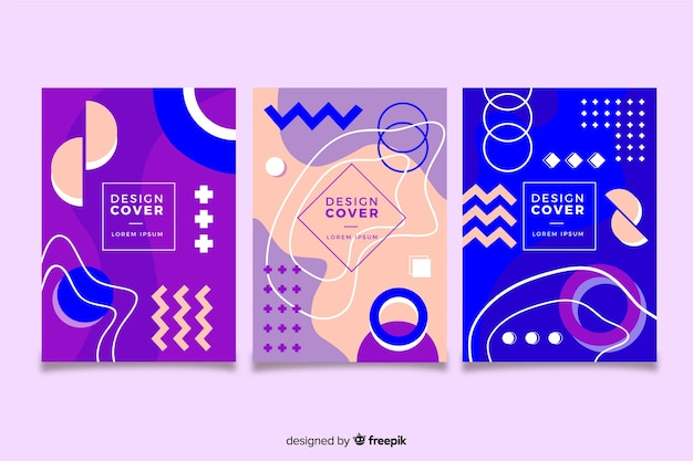 Memphis cover collectie concept voor sjabloon Gratis Vector