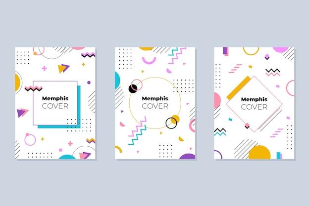 Memphis design cover-collectie Gratis Vector