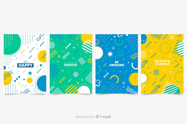 Memphis design covercollectie Gratis Vector