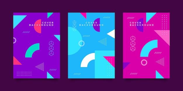 Memphis design covercollectie Premium Vector