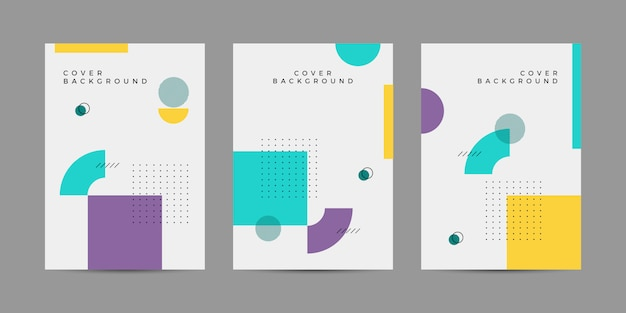 Memphis geometrische covercollectie Premium Vector