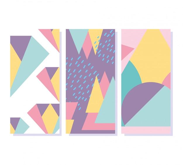 Memphis geometrische elementen retro stijl textuur banners Premium Vector