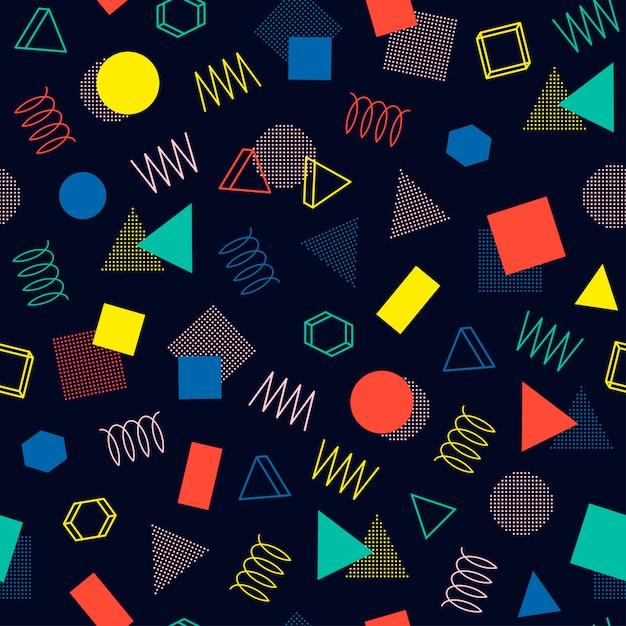 Memphis geometrische naadloze patronen. abstracte wirwartexturen. driehoek. Premium Vector