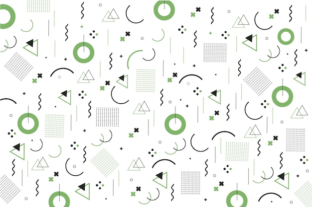 Memphis geometrische vormen platte ontwerp achtergrond Gratis Vector