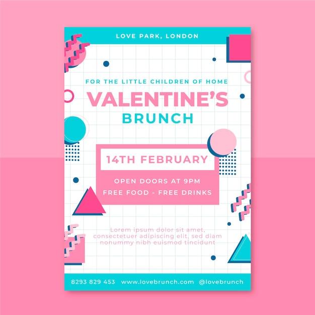 Memphis kinderlijke valentijnsdag poster Gratis Vector