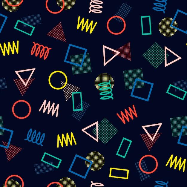Memphis naadloze patronen. abstracte wirwartexturen. Premium Vector