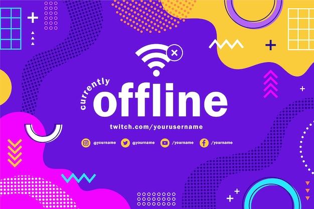 Memphis offline twitch-banner met kleurrijke vormen Gratis Vector