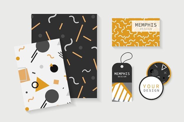 Memphis patroon kantoorbenodigdheden vector set Gratis Vector
