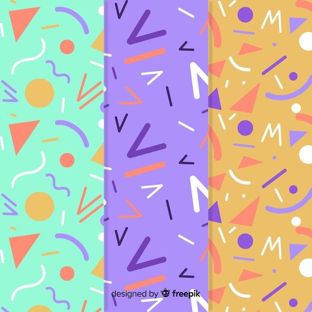 Memphis patrooncollectie met verschillende achtergrondkleuren Gratis Vector