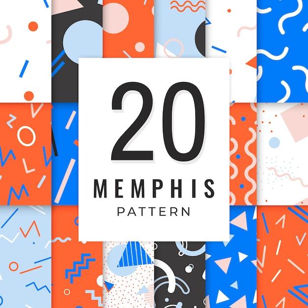 Memphis-patroonverzameling Gratis Vector
