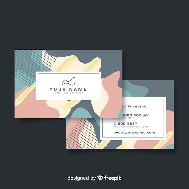 Memphis sjabloon voor visitekaartjes met logo Gratis Vector