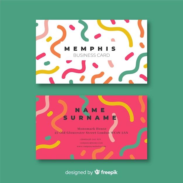 Memphis-sjabloon voor visitekaartjes Gratis Vector