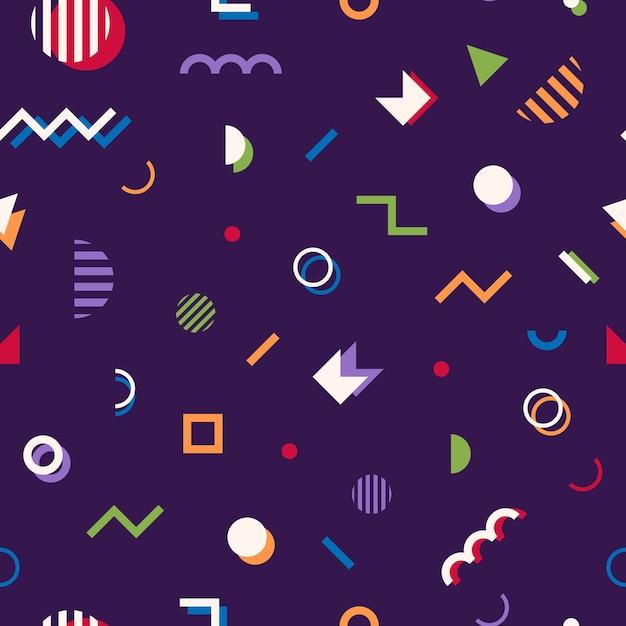 Memphis stijl abstracte geometrische naadloze patroon Premium Vector