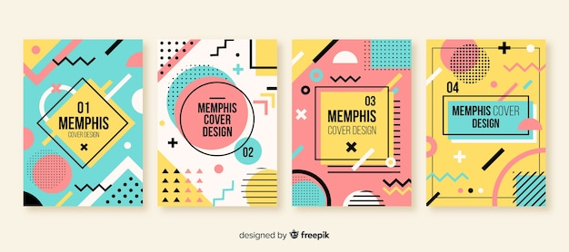 Memphis-stijl brochure set Gratis Vector