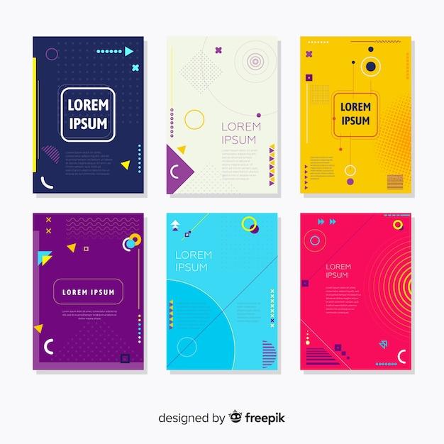 Memphis-stijl brochure-verzameling Gratis Vector