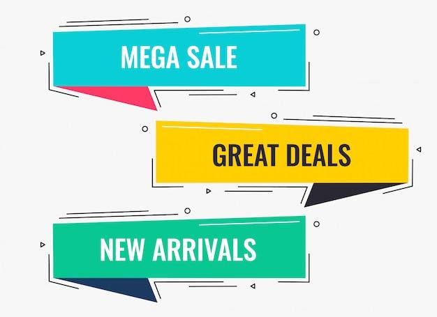 Memphis stijl platte verkoop en korting bannerontwerp Gratis Vector