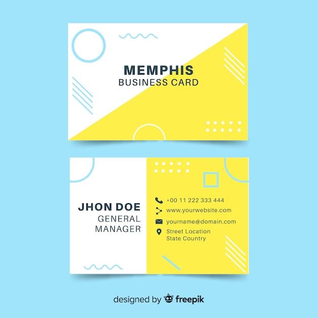 Memphis stijl visitekaartjesjabloon Gratis Vector