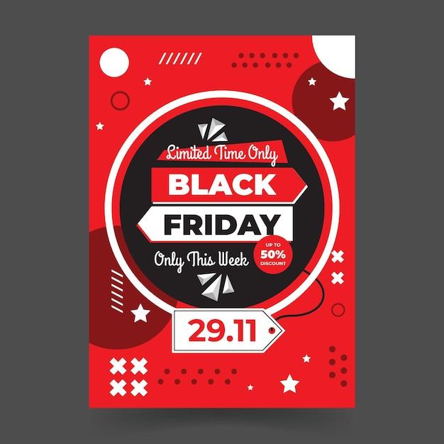 Memphis stijl zwarte vrijdag platte ontwerpsjabloon folder Gratis Vector