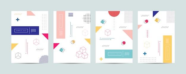 Memphis style cover template-collectie Premium Vector