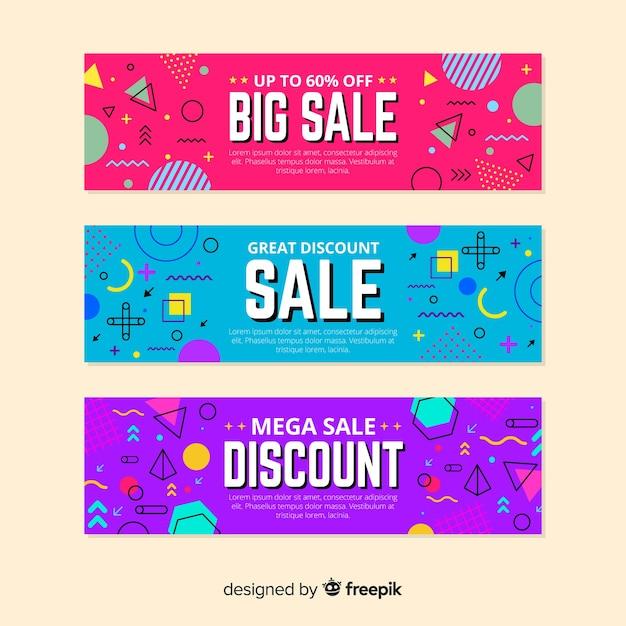 Memphis verkoop banner templates-collectie Gratis Vector