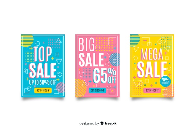 Memphis verkoop banner templates-collectie Gratis Vector