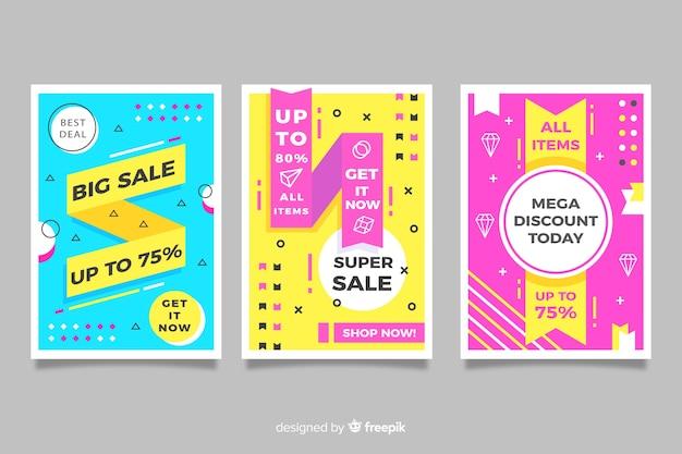 Memphis verkoop banners sjabloon collectie Gratis Vector