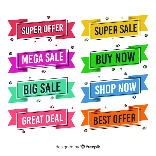 Memphis verkoop banners Gratis Vector