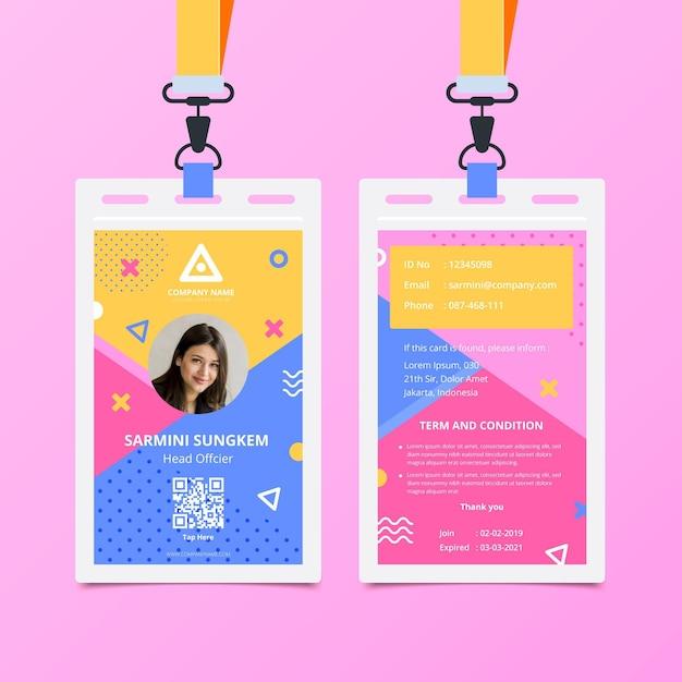 Memphis voor- en achterkant id-kaartsjabloon Premium Vector