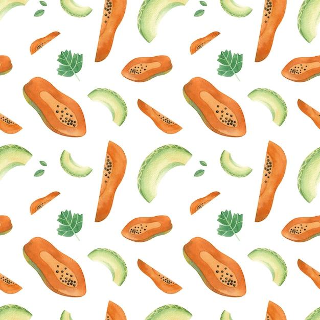 Meng fruit handgetekende naadloze patroon Premium Vector