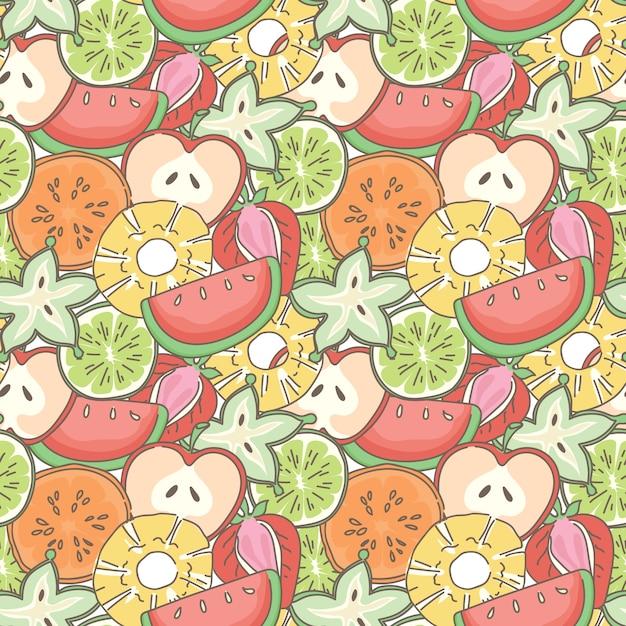 Meng vruchten naadloze patroon achtergrond Premium Vector