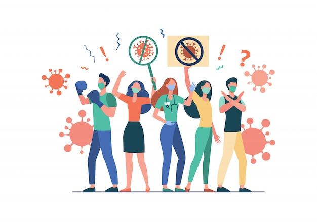 Menigte die protesteert tegen coronavirus Gratis Vector
