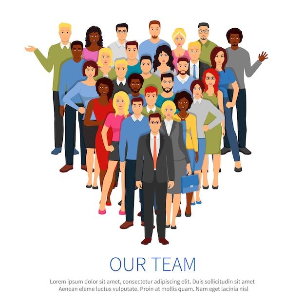 Menigte professionele mensen team vlakke poster Gratis Vector