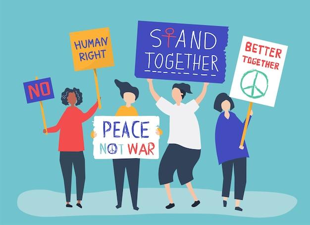 Menigte van demonstranten die protesterende tekens dragen Gratis Vector