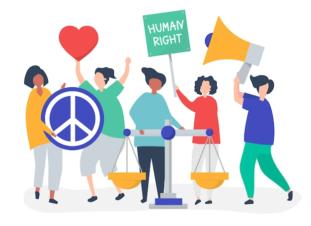 Menigte van demonstranten die zich inzetten om de mensenrechten te ondersteunen Gratis Vector
