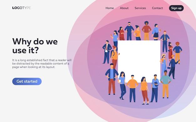 Menigte van diverse mensen bij elkaar staan. bestemmingspagina of websjabloon Gratis Vector